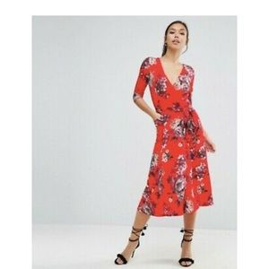 ASOS Crepe Midi Dress in Red Floral Print Size 6